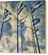 Pier Flags Wood Print