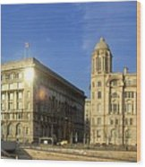 Pier Head Liverpool Panorama 2 Wood Print