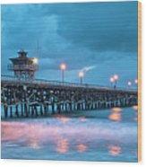 Pier In Blue Panorama Wood Print