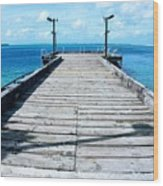 Pier Into The Blue Wood Print