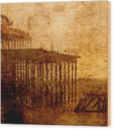 Pier Into The Depths Wood Print