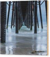 Pier Into The Ocean Wood Print