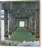 Pier Into The Sunset Wood Print