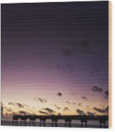 Pier Moon And Venus Wood Print
