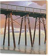 Pier On Beach During Sunrise, Playas De Wood Print