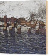 Pier Piles Wood Print