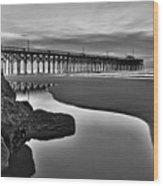 Pier Reflections Wood Print by Ginny Horton