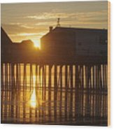 Pier Sunrise Wood Print