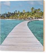 Pier To Tropical Island Wood Print