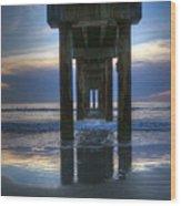 Pier View At Dawn Wood Print