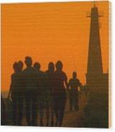 Pier Walkers Wood Print