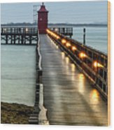 Pier With Lighthouse Wood Print