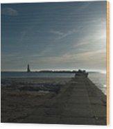 Pier With Sun Wood Print