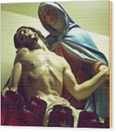 Pieta And The Candles Wood Print