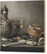 Pieter Claesz - Still Life With A Stoneware Jug, Berkemeyer, And Smoking Utensils 1640 Wood Print