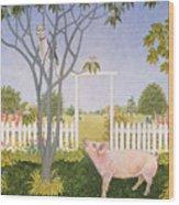 Pig And Cat Wood Print