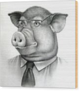 Pig Boss Wood Print