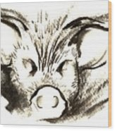 Pig Headed Wood Print