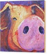 Pig On Purple I Wood Print