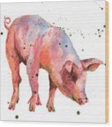 Pig Painting Wood Print