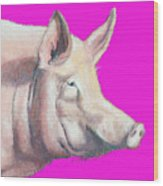Pig Painting - Kitchen Art Wood Print