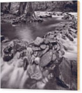 Pigeon Forge River Great Smoky Mountains Bw Wood Print