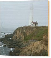 Pigeon Point Light In A Mist Wood Print