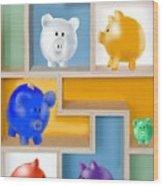 Piggy Banks Wood Print