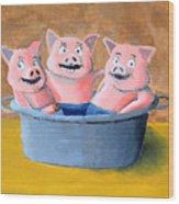 Pigs In A Tub Wood Print
