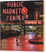 Pike Place Reflections Wood Print