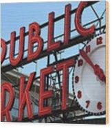 Pike Street Market Clock Wood Print