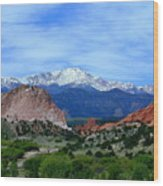 Pikes Peak And Garden Of The Gods 1 Wood Print