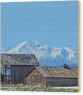 Pikes Peak And Old Barn Spring Snow Wood Print