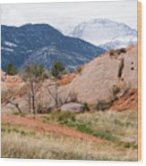 Pikes Peak From Red Rock Canyon Wood Print