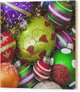 Pile Of Beautiful Ornaments Wood Print