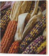 Pile Of Indian Corn Wood Print