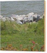 Pile Of Rocks On Shoreline Wood Print
