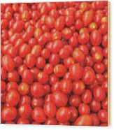 Pile Of Small Tomatos For Sale In Market Wood Print