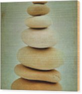 Pile Of Stones Wood Print by Bernard Jaubert