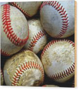 Pile Or Stack Of Baseballs For Playing Games Wood Print