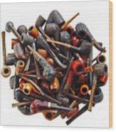 Pile Pipes Wood Print