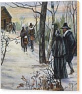 Pilgrims: Church Wood Print