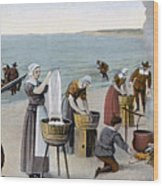 Pilgrims Washing Day, 1620 Wood Print
