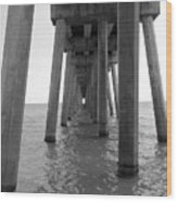 Black And White Pier Wood Print
