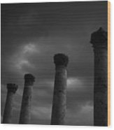 Pillars Of Black And White Wood Print