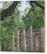 Pillars Of Sheldon Church Ruins Wood Print