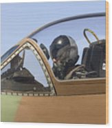 Pilot In The Cockpit Of A Skyhawk Fighter Jet  Wood Print