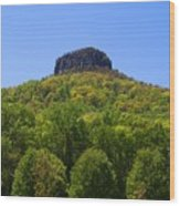 Pilot Mountain In Spring Green Wood Print
