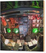 Pilots At The Controls Of A B-52 Wood Print by Stocktrek Images