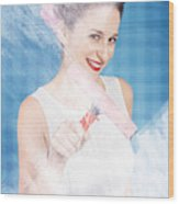 Pin Up Cleaning Lady Washing Glass Shower Door Wood Print